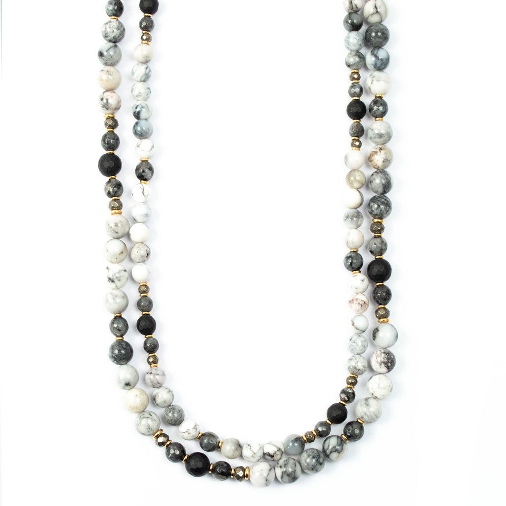 Dendritic Opal, Matte Onyx, & Marbled Labradorite Double Strand Necklace