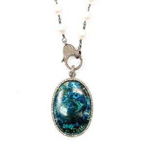 Pavé Diamond Shattuckite Pendant & White Baroque Pearl Wire Wrapped Necklace