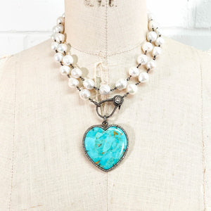 Pavé Diamond Turquoise Heart Pendant & Wire Wrapped White Baroque Pearl Necklace