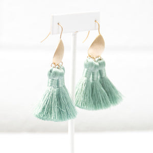 Mint Green Bohemian Multi Tassel Earrings
