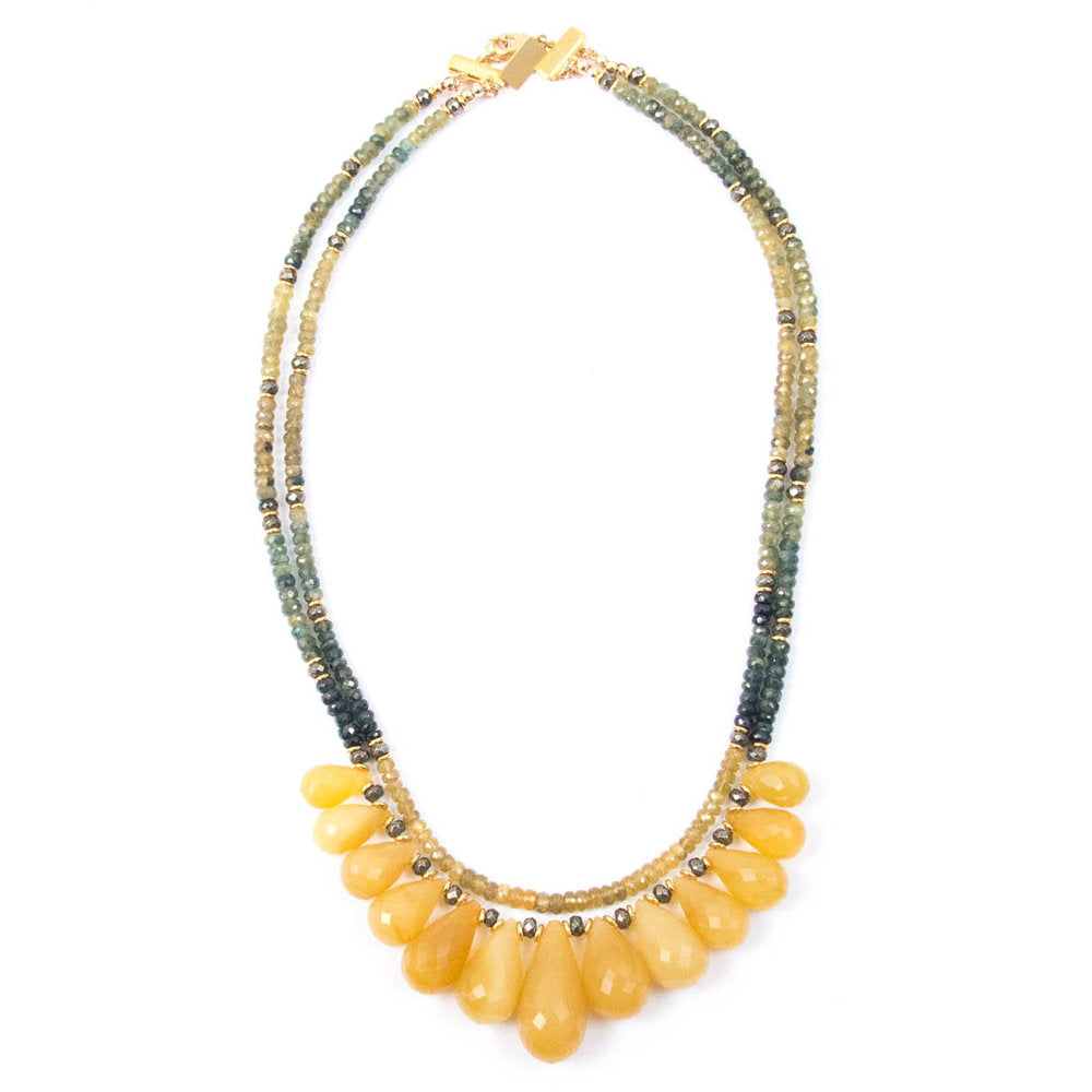 Yellow Opal Drops & Yellow/Blue Sapphire Necklace