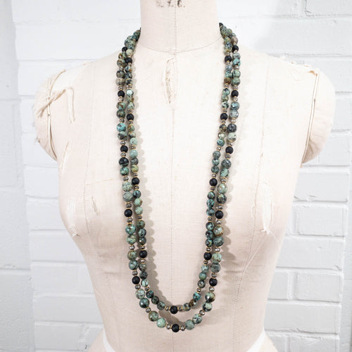 African Turquoise & Matte Onyx Double Strand Necklace