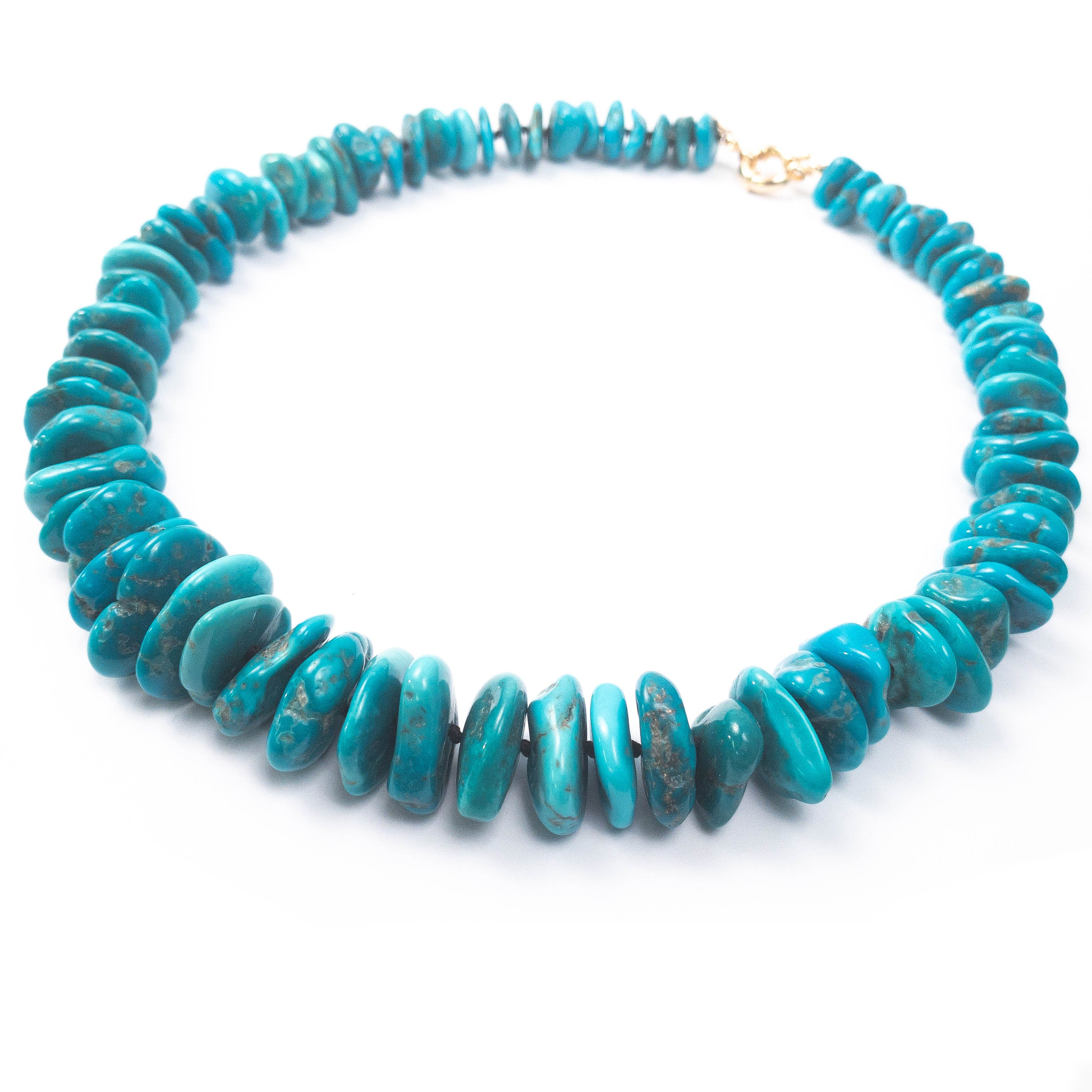 AAA Quality Undyed Sleeping Beauty Turquoise Disc Necklace