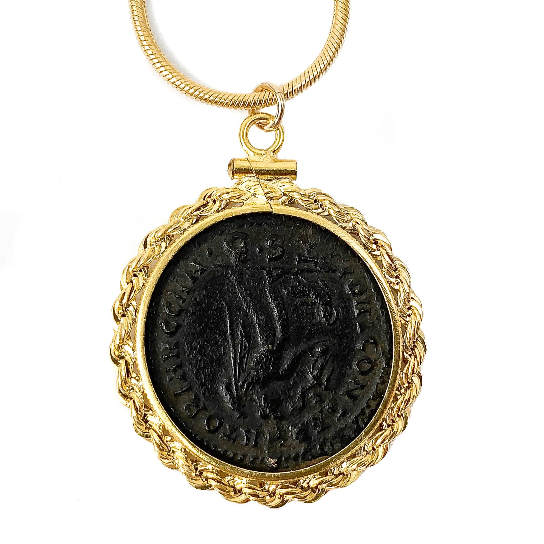 14 Gold Filled Genuine Ancient Roman Coin Necklace (CONSTANTINE THE GREAT, 306-337 A.D.)