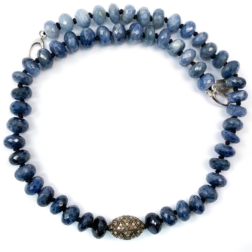 Pavé Diamond Ball & Blue Sapphire Knotted Necklace