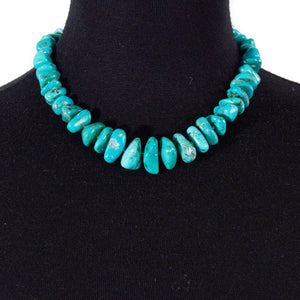 Natural Tumbled Turquoise and Tsavorite Garnet Statement Necklace