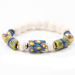 Blue and yellow antique Venetian millefiori African trade bead and conch shell elastic bracelet miller mae designs