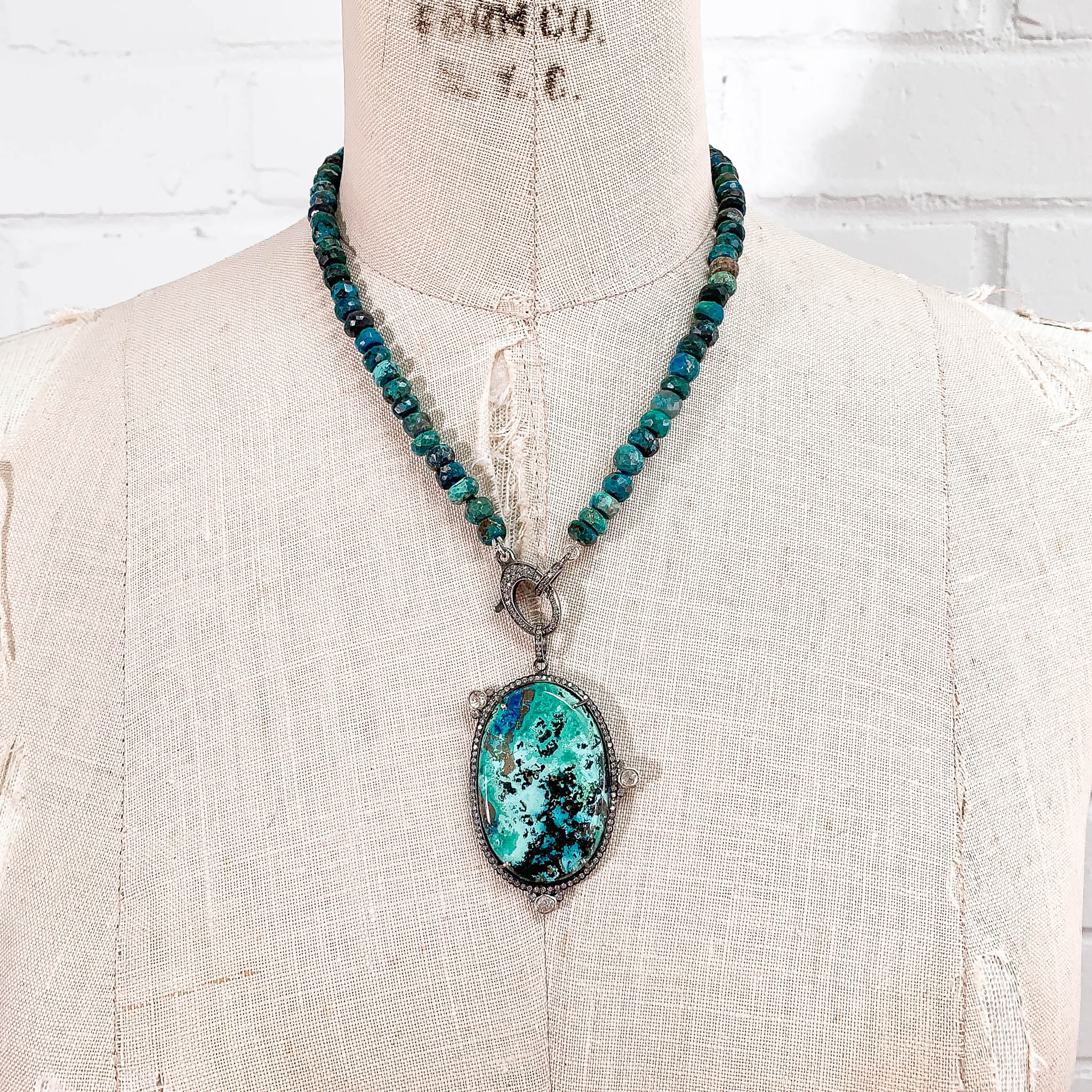 Diamond & Azurite Pendant on Diamond Clasp & Chrysocolla Necklace