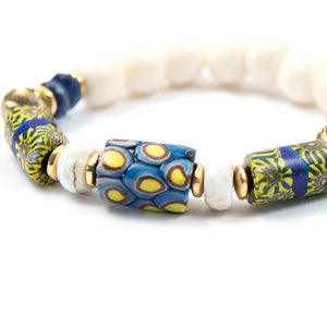 genuine antique Venetian murano glass millefiori African trade beads naga shell beaded bracelet miller mae designs