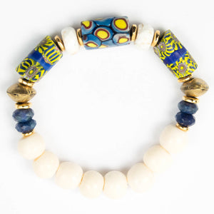 bohemian tropical African glass millefiori trade beaded elastic bracelet miller mae designs