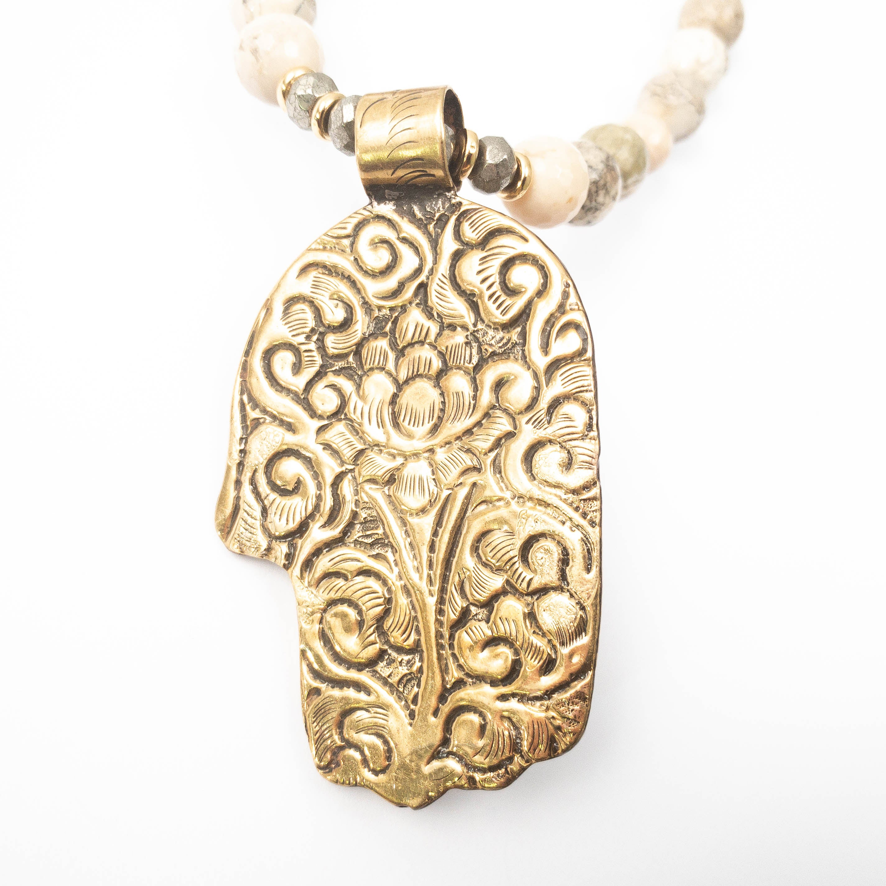 Nepali Repousse Hamsa Pendant on African Opal Necklace