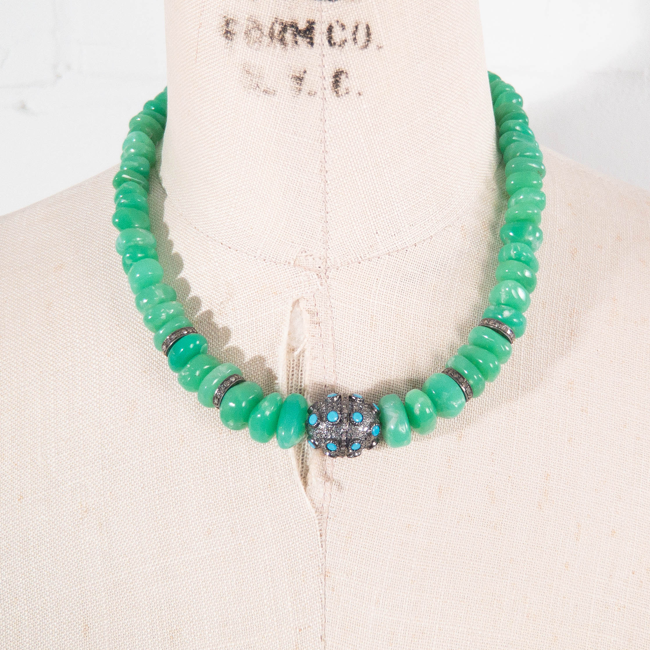 Tumbled Chrysoprase with Pavé Diamond & Turquoise Statement Necklace