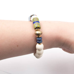 boho bohemian blue yellow and white African trade bead Nepali white bone beaded bracelet miller mae designs
