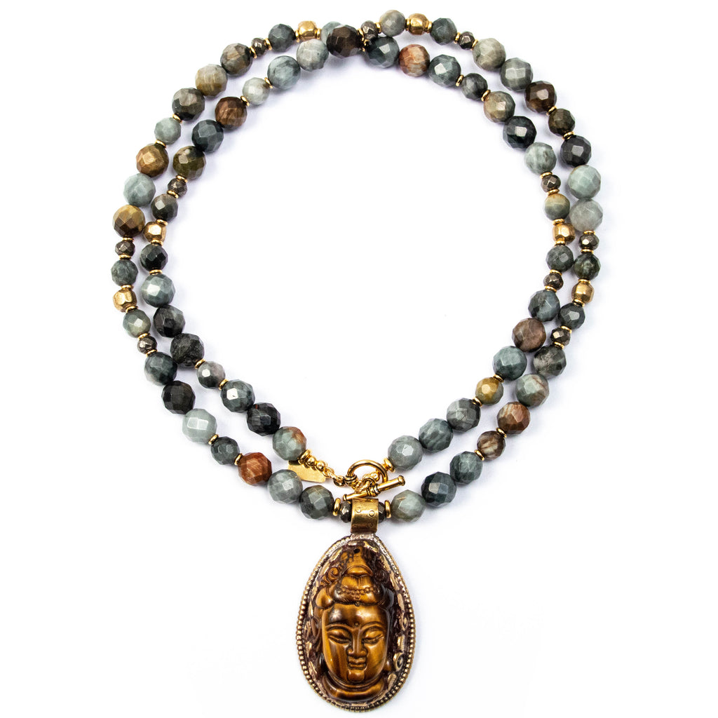 Nepali Tiger's Eye Buddha Repousse Pendant on Hawk's Eye Necklace