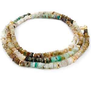 Raw Ethiopian Opal Heishi Double Wrap Necklace