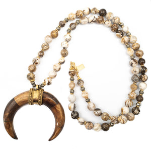 Fossilzed Coral Stone with Crescent Horn Pendant Necklace
