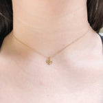 14k Gold & Diamond Four Leaf Clover Charm Necklace
