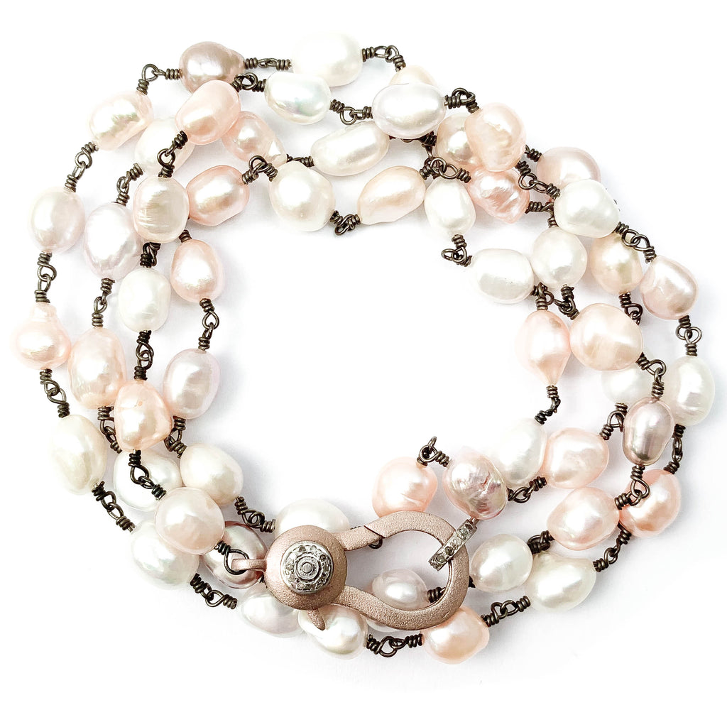Rose Gold Diamond Clasp with Pink & White Freshwater Baroque Pearl Necklace