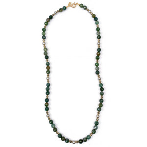 CHRYSOCOLLA & DIAMOND CRESCENT HORN NECKLACE