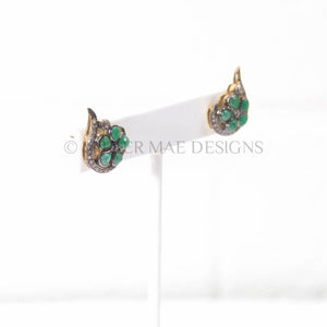 EMERALD & PAVÉ DIAMOND FLOWER CRAWLING STUD EARRINGS