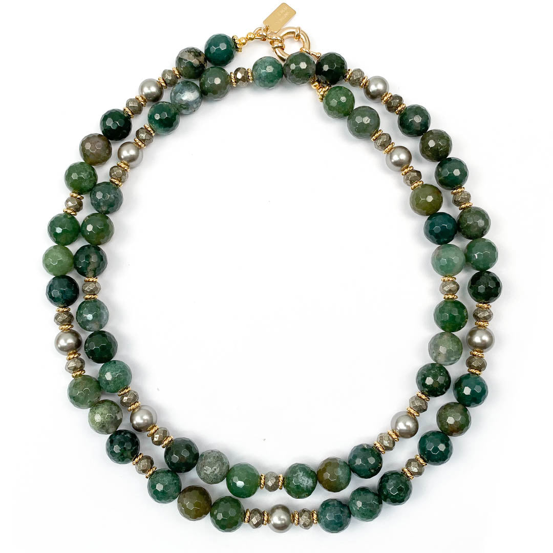 Emerald Green Moss Agate & Grey Pearl Strand Necklace