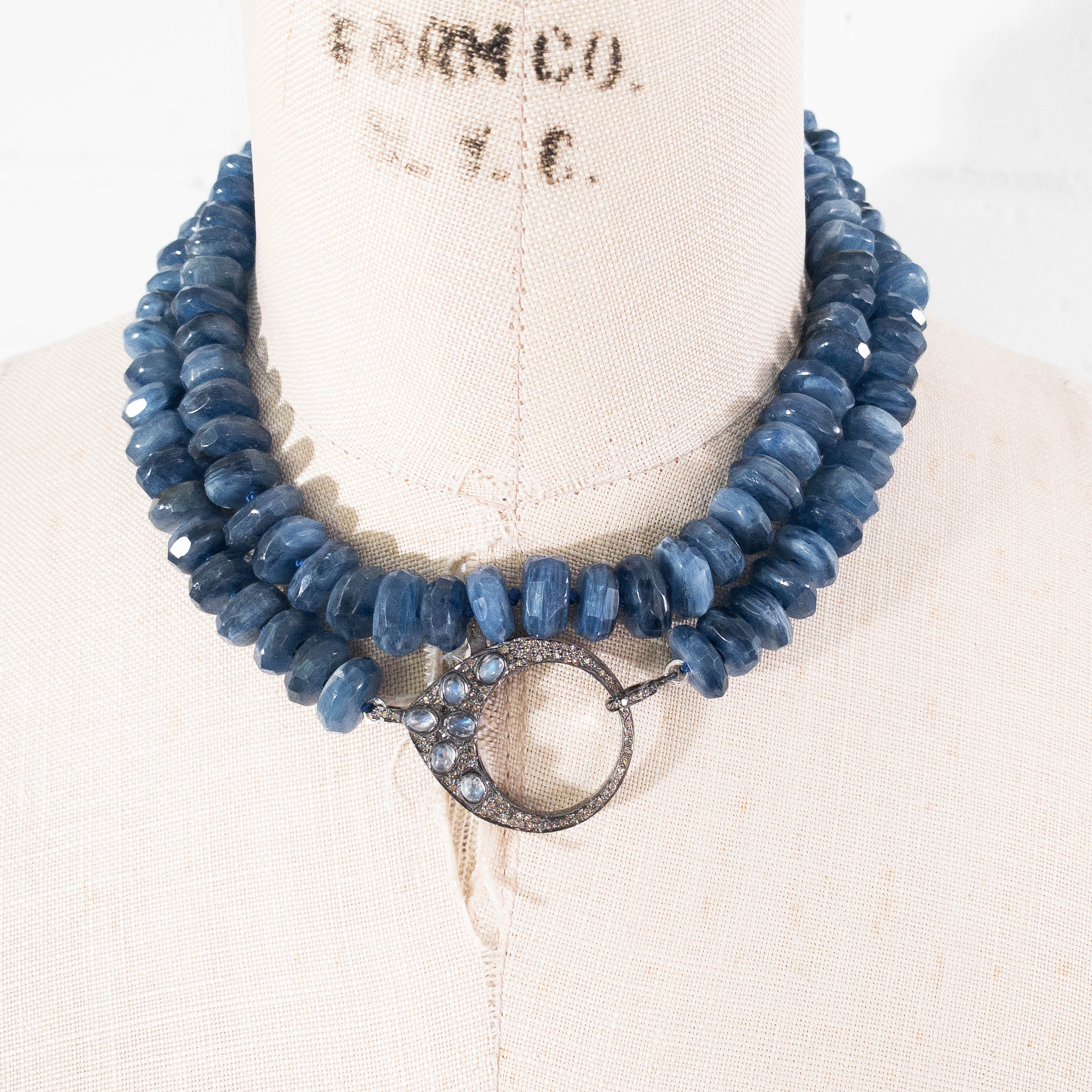 Pavé Diamond Clasp with Hand-Knotted Kyanite Necklace