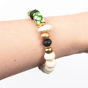 neutral natural statement big bold beaded elastic stretch stretchy bracelet miller mae designs