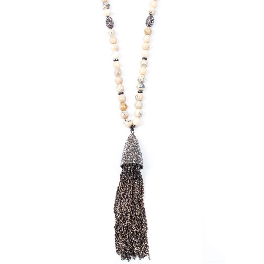 PAVÉ TASSEL & AFRICAN OPAL NECKLACE