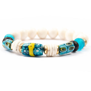 turquoise genuine antique Venetian Murano millefiori glass African trade bead elastic stretch stretchy bracelet miller mae designs