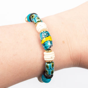 turquoise African trade bead shell disc beaded elastic bracelet miller mae designs