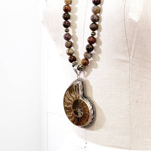 Sterling Nepali Ammonite Pendant Pietersite Necklace