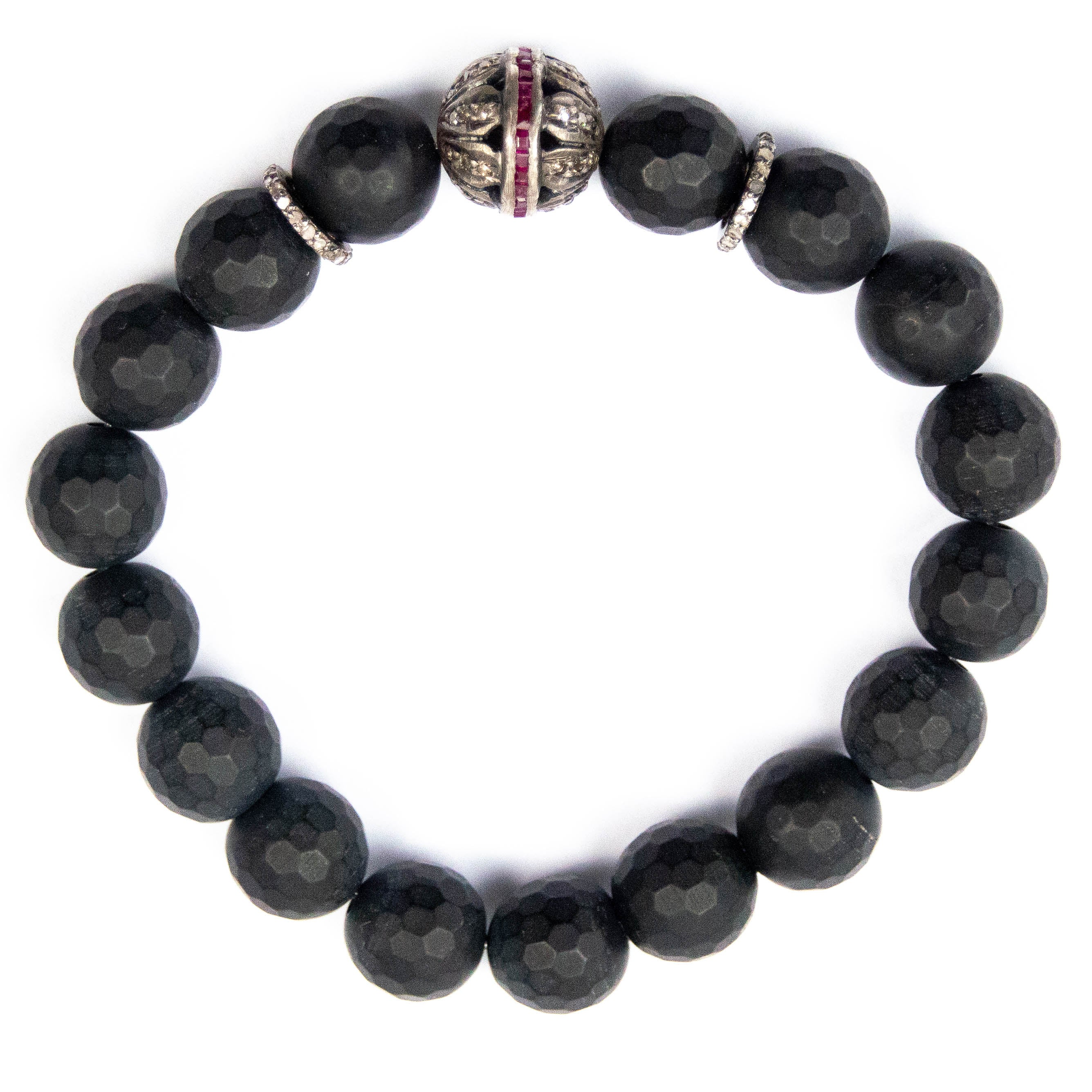 Onyx & Ruby/Diamond Ball Bracelet