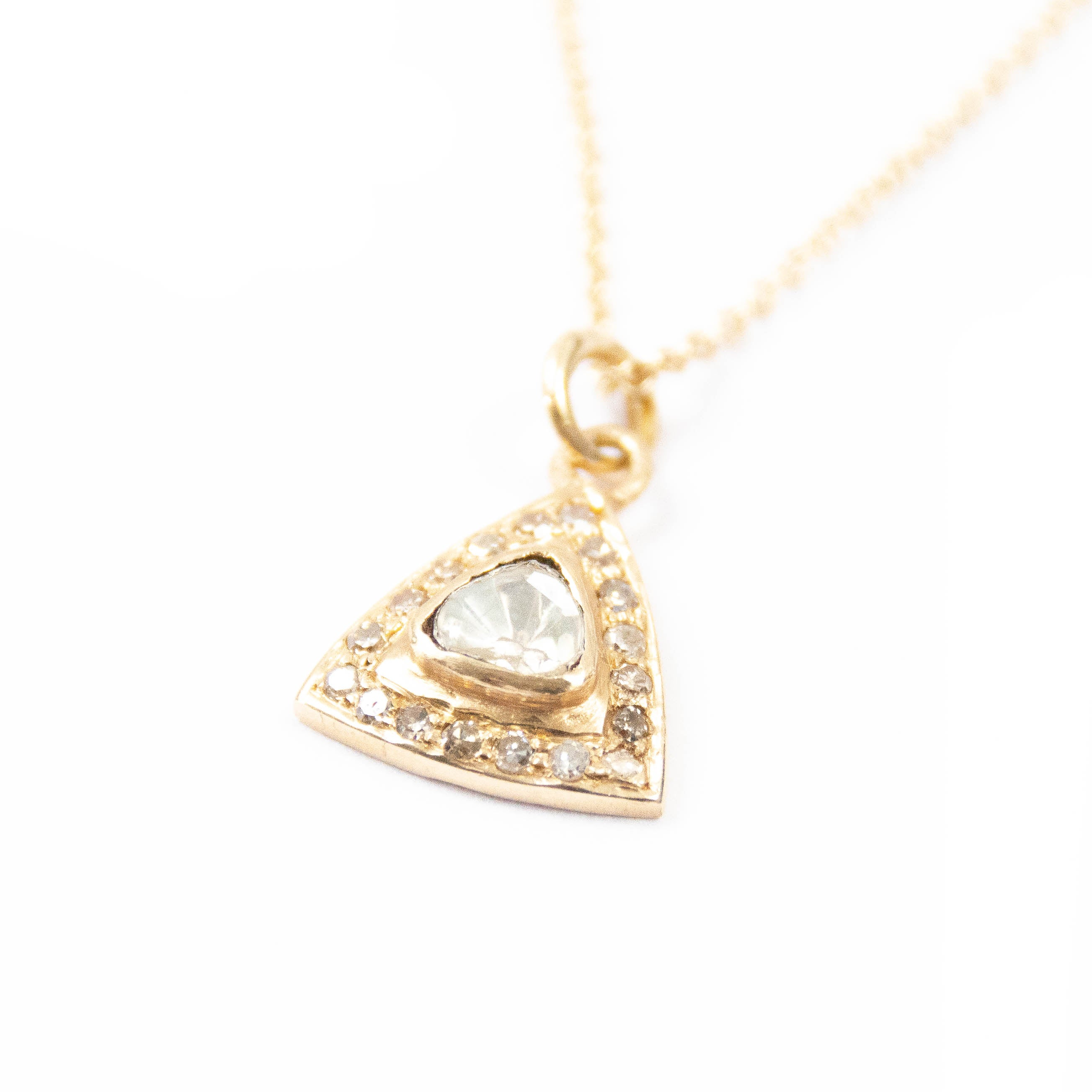 14kt Gold & Diamond Triangle Charm Necklace