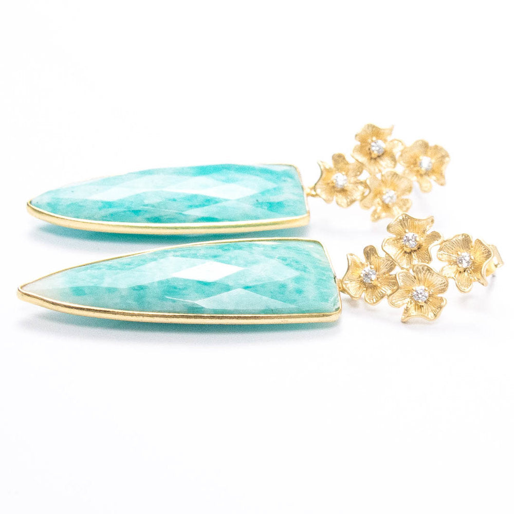 AMAZONITE FLOWER CLUSTER EARRINGS