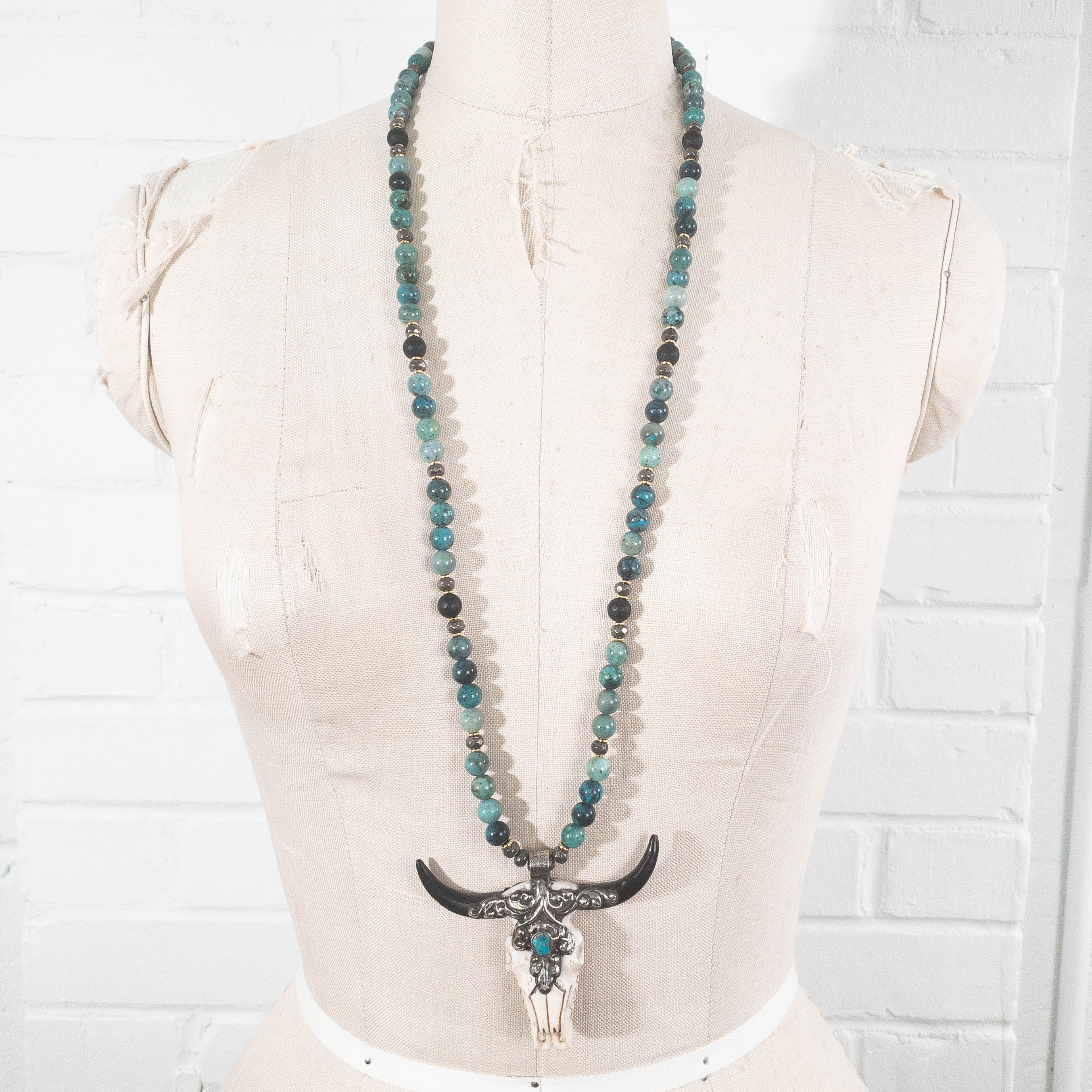 Turquoise Longhorn Skull Pendant on Azurite & Matte Onyx Necklace