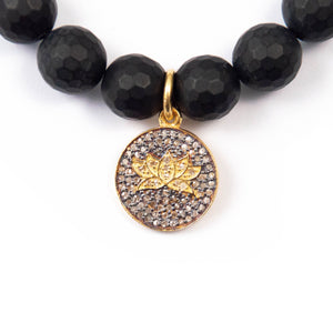 Pavé Diamond Lotus Flower & Matte Onyx Bracelet