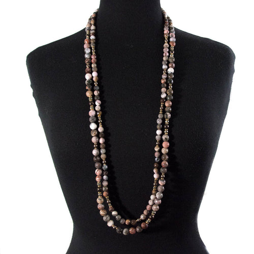 PETRIFIED WOOD & SWAROVSKI PEARL DOUBLE STRAND NECKLACE