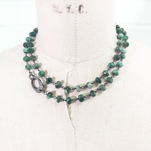 Rose Cut Diamond Cross on Diamond Clasp & Natural Emerald Necklace