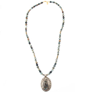 Nepali Labradorite Pendant on Hawk's Eye Necklace