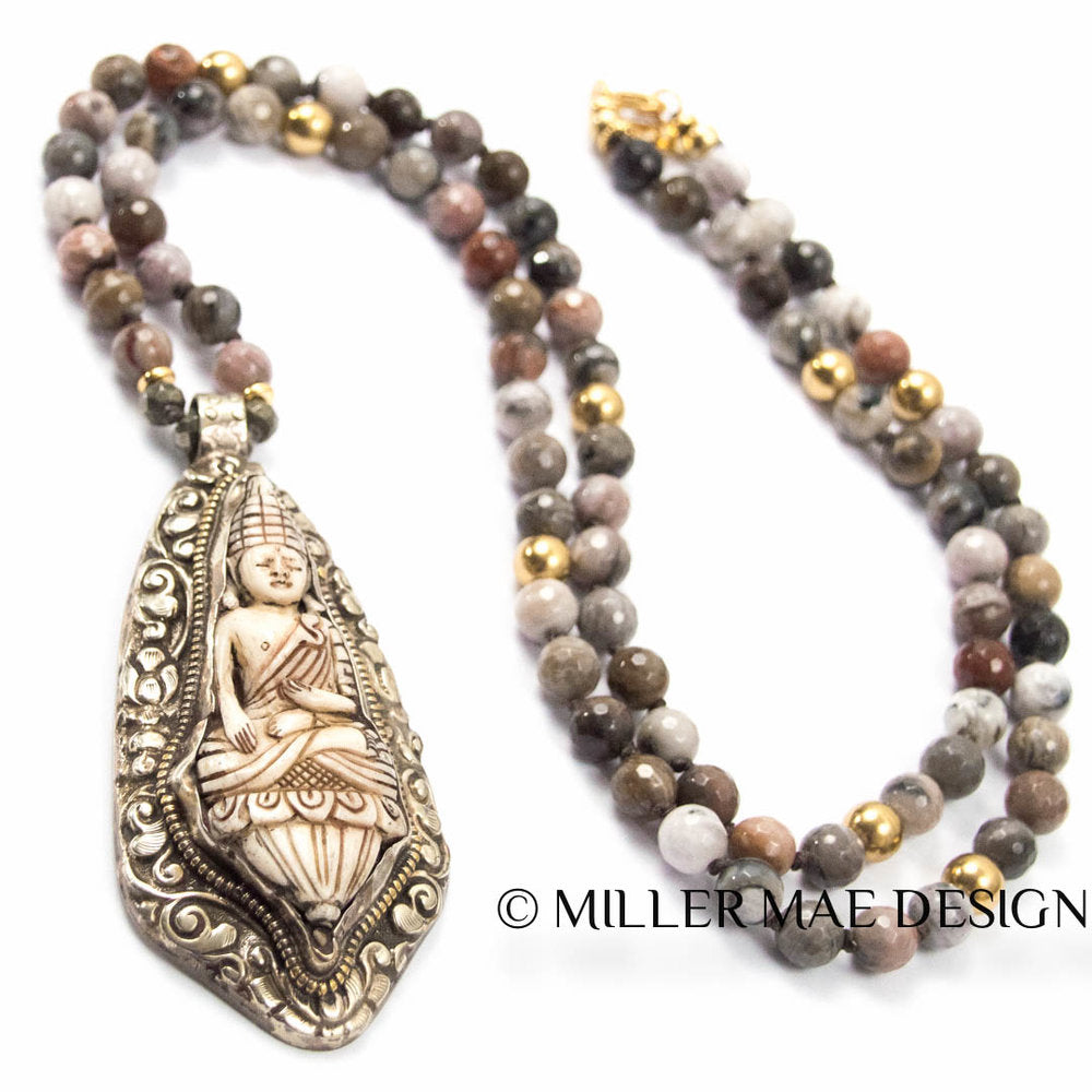 NEPALESE BUDDHA & PETRIFIED WOOD NECKLACE