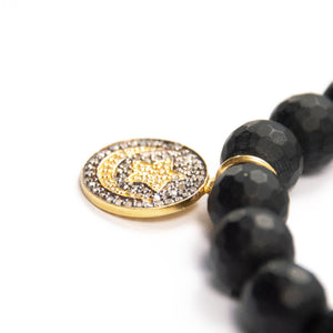 Pavé Diamond Moon & Stars with Matte Onyx Bracelet