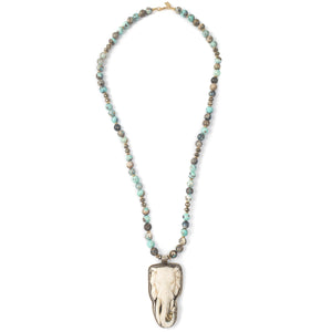 Neplai Elephant Pendant on Larimar Agate Necklace