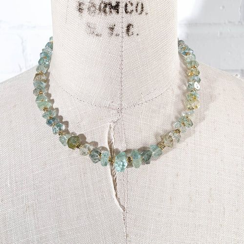 Aquamarine & Green Sapphire Nugget Necklace - Medium