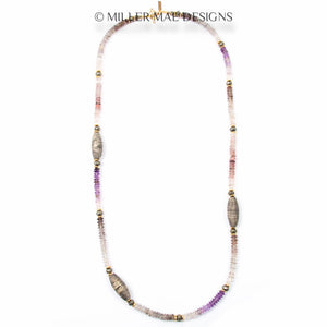 SUPER SEVEN STONE CRYSTAL & MOROCCAN BERBER BEAD NECKLACE