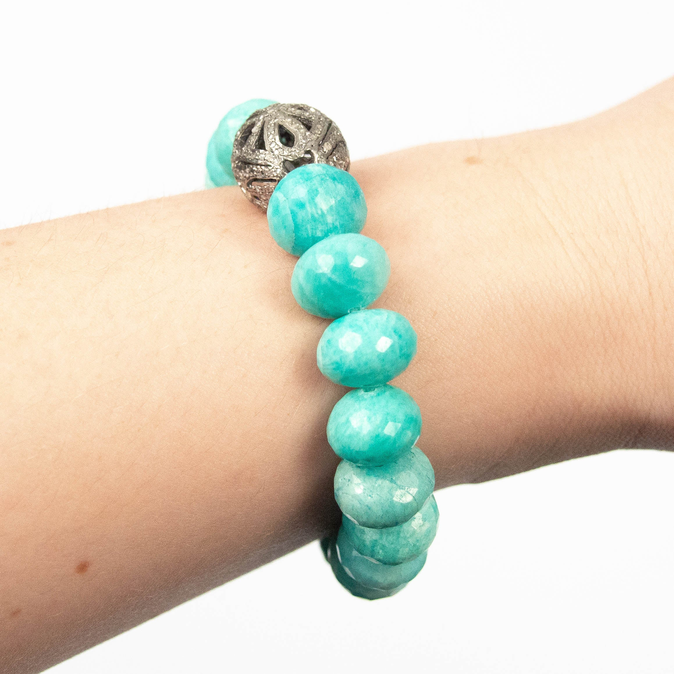 South African Amazonite Diamond Bracelet