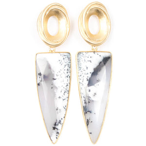 DENDRITIC OPAL POINT EARRINGS