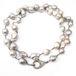 Grey/Beige Baroque Pearl Wire Wrapped Necklace with Pavé Rose Cut Diamond Clasp