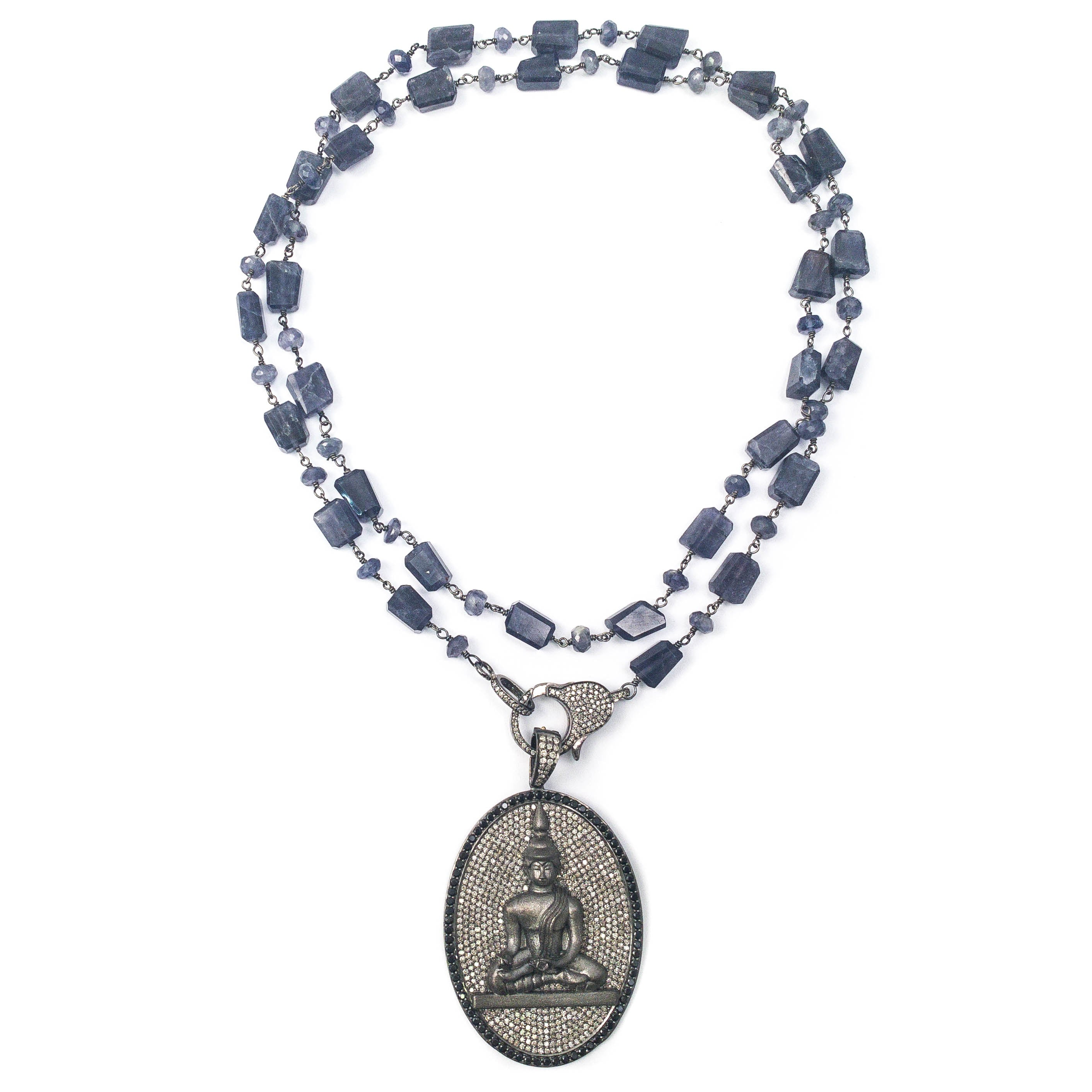 Pavé Diamond & Spinel Buddha Pendant on Diamond Clasp & Mixed Iolite Necklace
