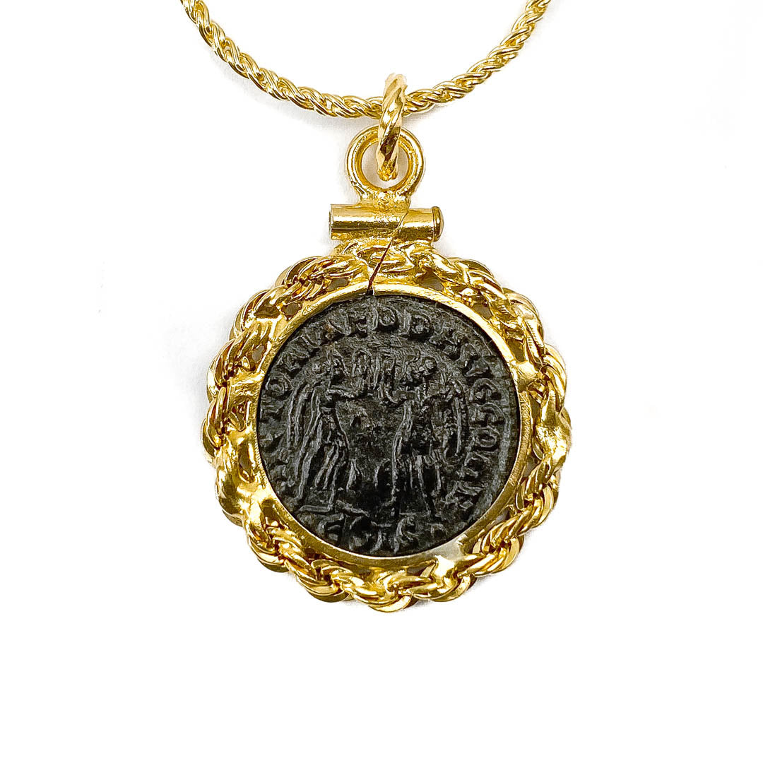 14k Gold Filled Ancient Roman Coin Necklace (CONSTANTIUS II; 337-361 A.D.)