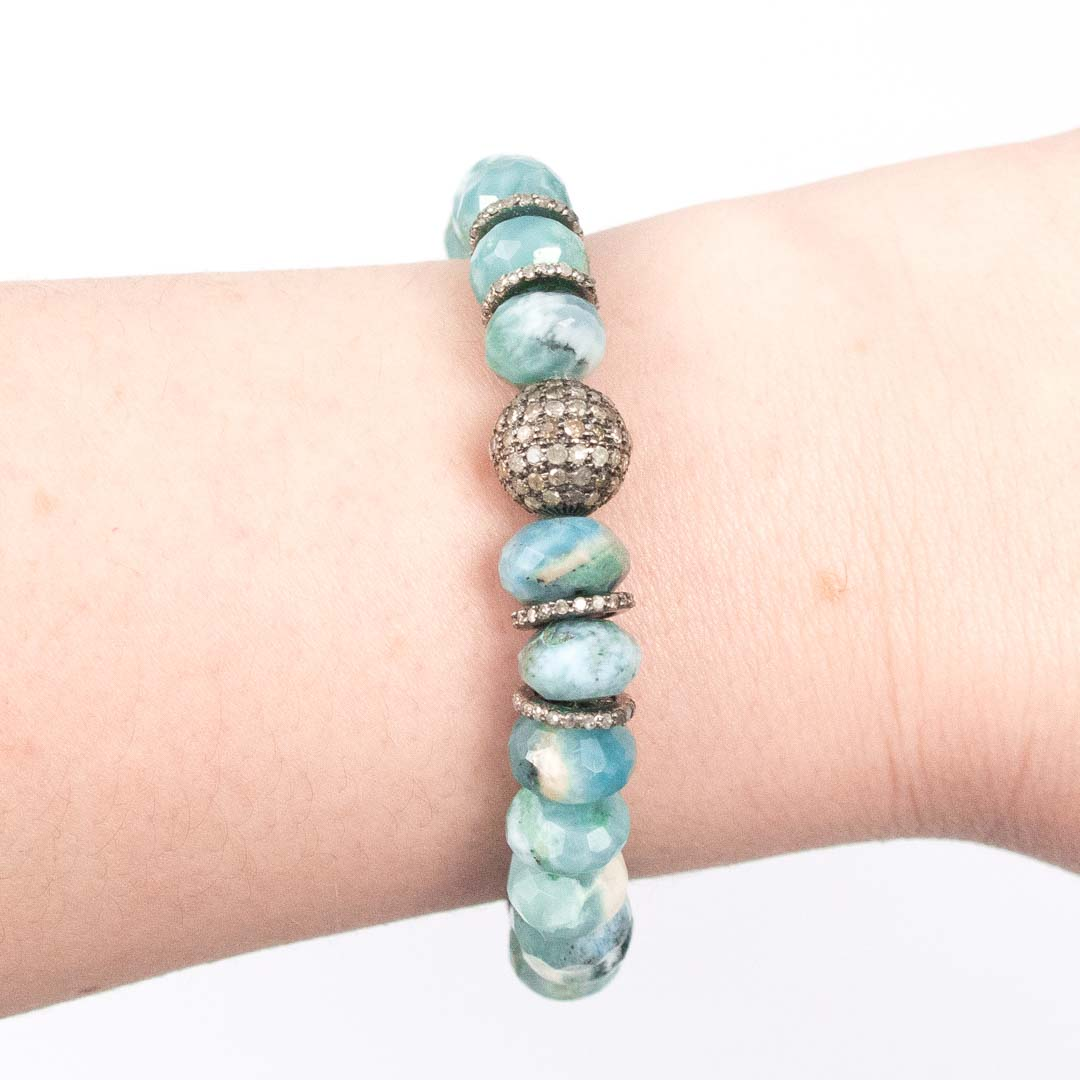 PAVÉ DIAMOND BALL/SPACER & LARIMAR BRACELET